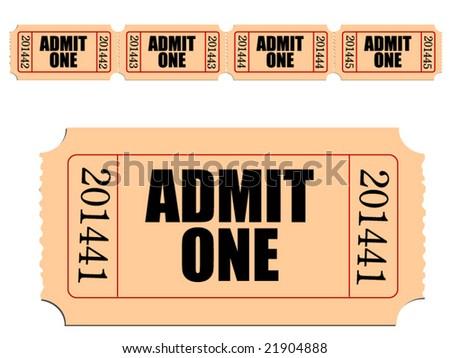 Vector image of Admit One ticket - stock vector