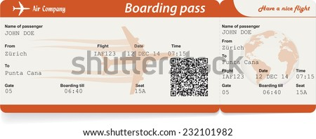 Vector image of airline boarding pass ticket with QR2 code. Isolated on white. Vector illustration - stock vector