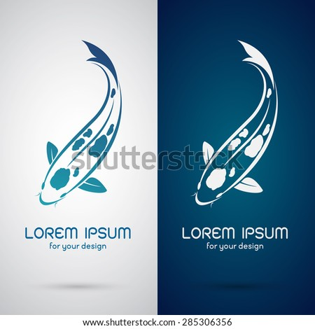 Vector image of an carp koi design on white background and blue background, Logo, Symbol - stock vector
