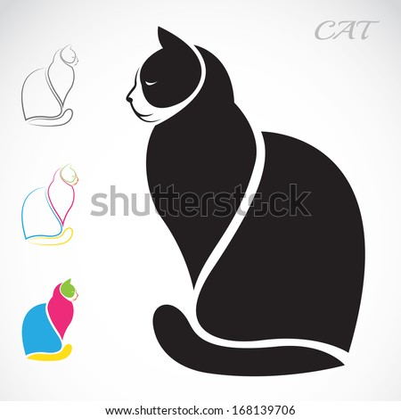 Vector image of an cat on white background - stock vector