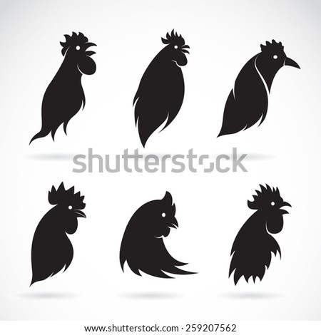 Vector image of an chicken head on white background - stock vector