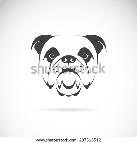 Vector image of an dog face (bulldog) on white background - stock vector