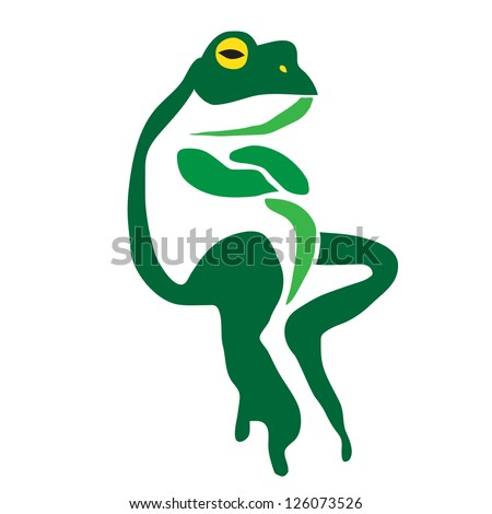 Vector image of an frog on a white background - stock vector