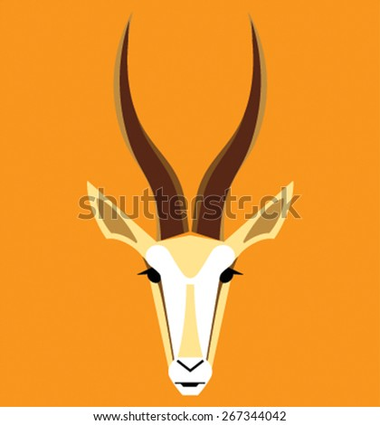 Vector image of an gazelle head on color background - stock vector