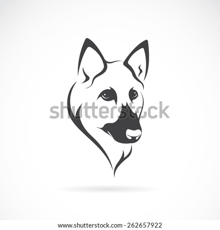 Vector image of an German shepherd face on white background - stock vector