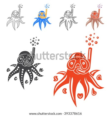 Vector image of an octopus on white background. Vector illustration with a octopus, mask and snorkel. Logo and emblem template for snorkeling club. - stock vector