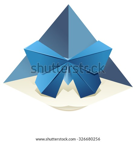 Vector image of an origamy blue butterfly - stock vector