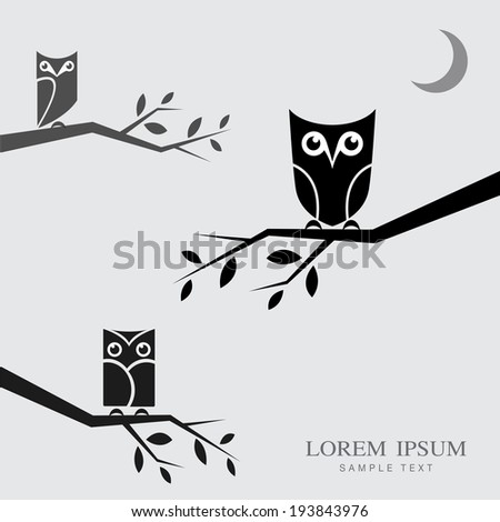 Vector image of an owls perched on branches with place for your text. - stock vector