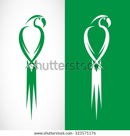 Vector image of an parrot design on white background and green background, Logo, Symbol - stock vector