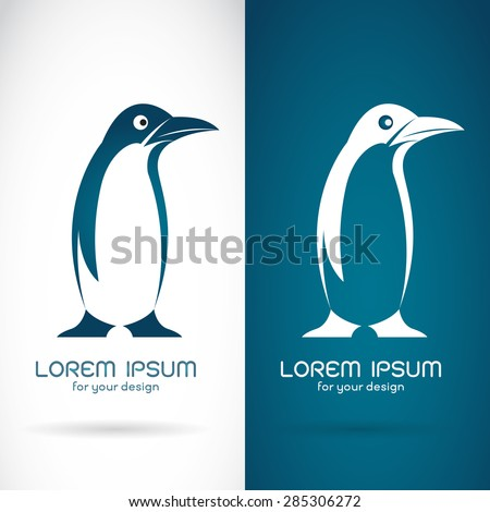 Vector image of an penguin design on white background and blue background, Logo, Symbol - stock vector
