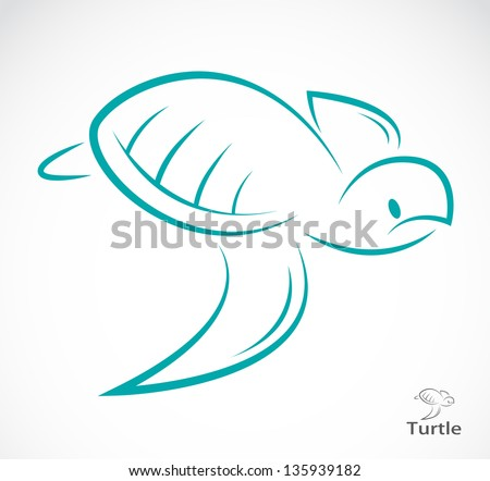 Vector image of an turtle on white background - stock vector