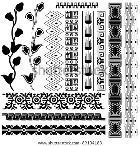 Vector image of ancient american pattern on white - stock vector