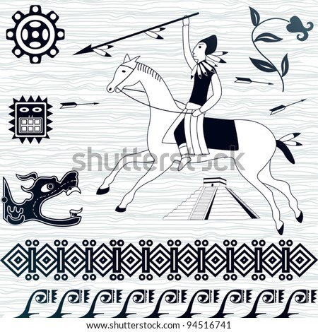 Vector image of ancient american patterns and horseman - stock vector