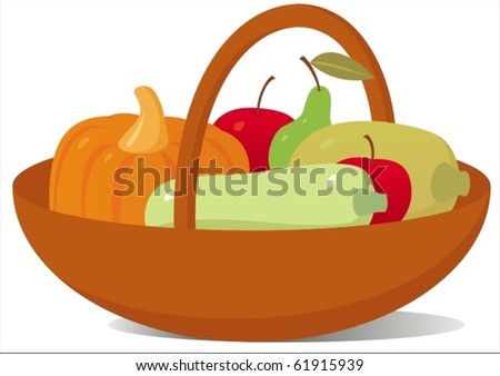 Vector image of basket with fruits and vegetables