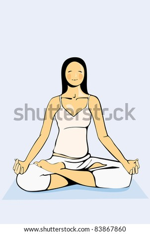 vector image of beauty calm woman practise yoga