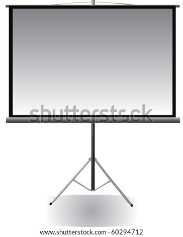 Vector image of blank projector screen with tripod - stock vector