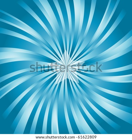 vector image of blue classical, retro style sunburst with a 3d effect and central star - stock vector
