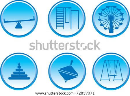 vector image of blue glossy icons playground - stock vector