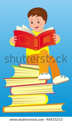 Vector image of boy sitting on books
