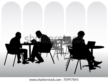 Vector image of business people for lunch at a restaurant - stock vector