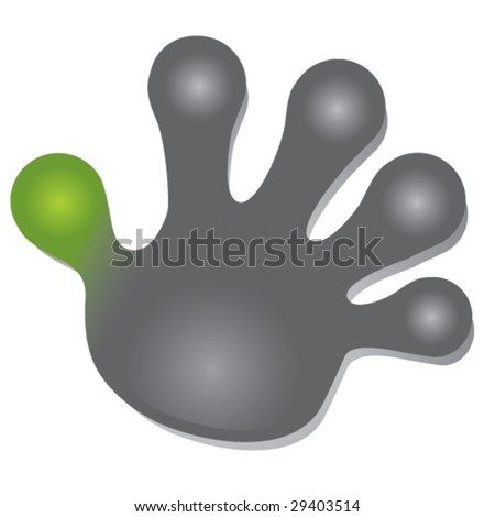 Vector image of cartoonish hand with green thumb. - stock vector