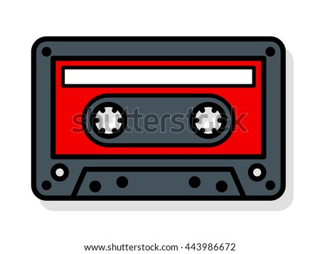 Vector image of cassette with blank label over white background - stock vector