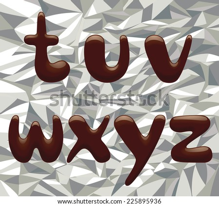 Vector image of chocolate alphabet small letters on the aluminum foil - stock vector