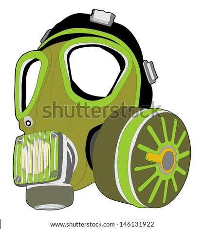 vector image of classic green army gas mask isolated on white background, toxic mask,object, device, adversity, despair, futuristic, hopelessness, survival, life, - stock vector