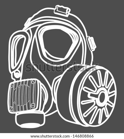 vector image of classic white army gas mask isolated on black background, toxic mask - stock vector