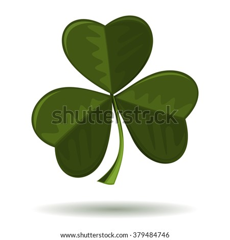 Vector image of clover isolated on a white background. Trifoliate clover - symbol Christianity in Ireland. Shamrock, seamrog, clover - symbol of Ireland. Symbol of the celebration of St. Patrick's Day - stock vector