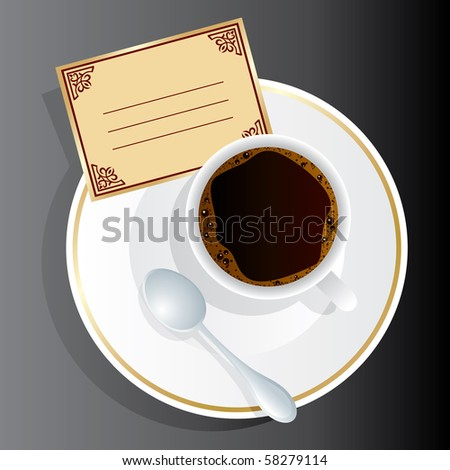Vector image of coffee appliance with an invitation - stock vector