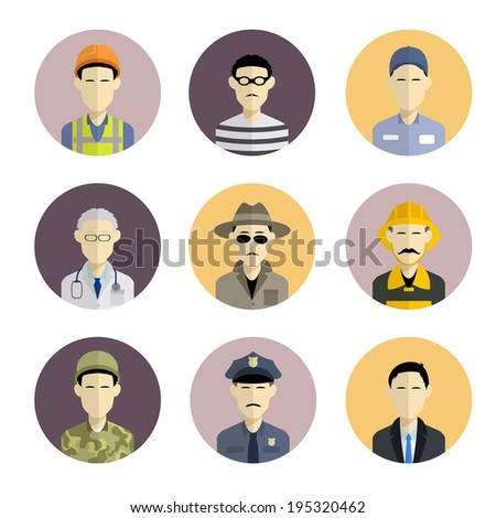 Vector image of collection of flat icons with professions - stock vector