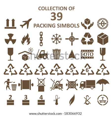 Vector image of collection of packing simbols - stock vector
