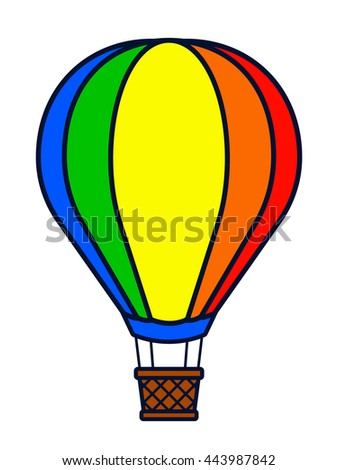 Vector image of colorful hot air balloon over white background - stock vector