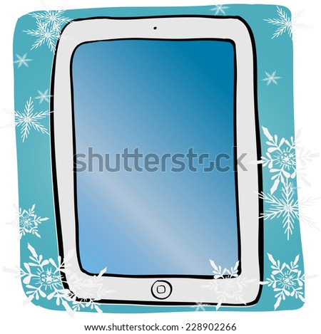 vector image of computer tablet ipad with place for text - stock vector