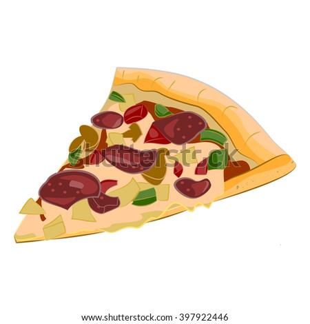 Vector image of creative pizzas meats. Cartoon Icon Italian pizza. A slice of pizza for the design.