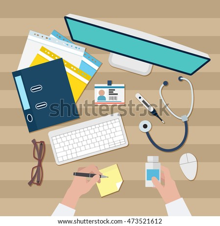 Vector image of Doctor workspace