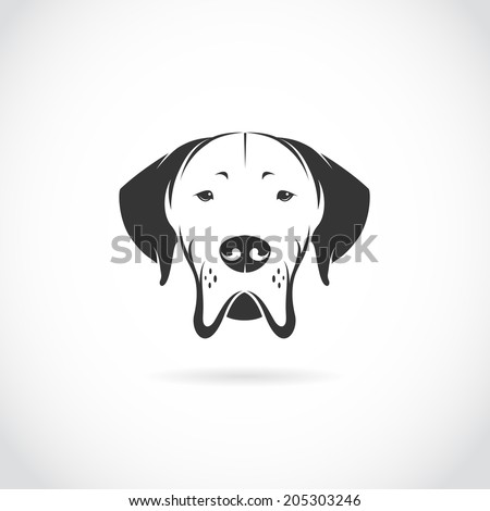 Vector image of dog head on white background - stock vector