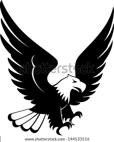 vector image of eagle landing design isolated on white background - stock vector