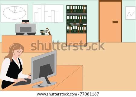 Vector image of employees, women and men during the working day at the office as usual - stock vector