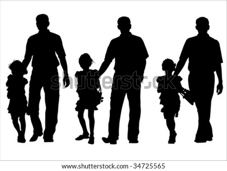 Vector image of father and daughter for a walk. Silhouette on white background