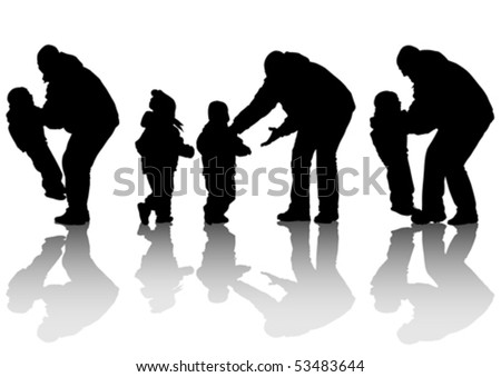 vector image of father and daughter for a walk silhouette on white background