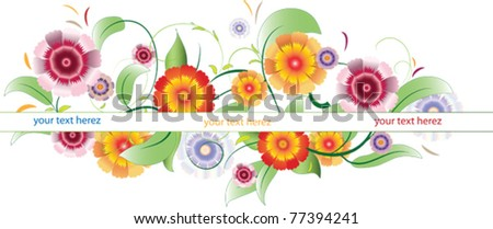 vector image of flowers with leaves and stripes, where you can place text - stock vector