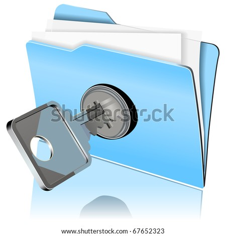 vector image of folder with paper sheets locked with key - stock vector