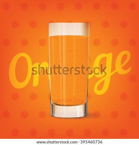 Vector image of fresh cool glass of orange juice - stock vector
