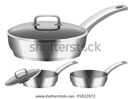 Vector image of frying pan with  cover