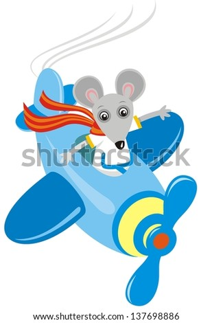 Vector image of funny mouse in airplane