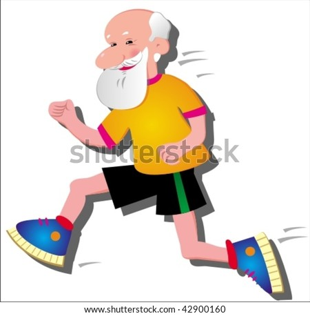 Vector image of funny running old man