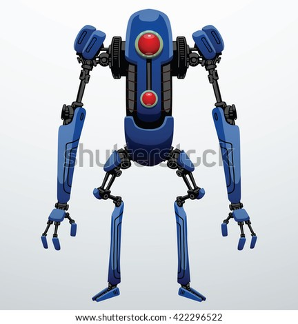 Vector image of funny thin blue robot with two arms and legs, with a red lens in the center of the body standing on a light gray background. Future, technology, modern. Vector humanoid robot. - stock vector