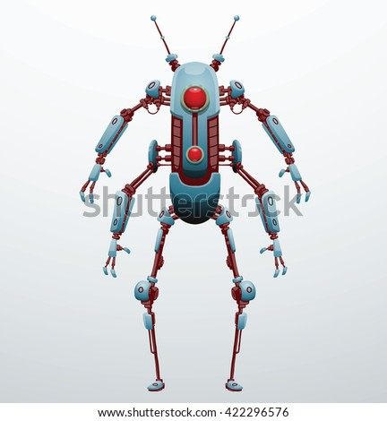 Vector image of funny thin light blue robot with four arms and  two legs, with a red lens in the center of the body standing on light gray background. Future, technology, modern. Vector humanoid robot - stock vector